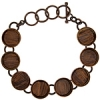 Bezel Handmade Bracelet 5/8in X 4mm Round Links Antique Copper